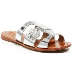 Tory Burch Anchor T Leather Slide Sandals